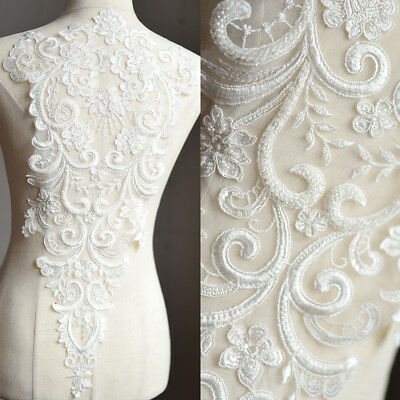 Stickereien Kostüm Spitze Applikation Naturweiss Perlen Braut Abendkleid (Weiße Spitze Kostüm)