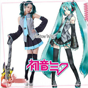 Vocaloid-Miku-Hatsune-Japan-Anime-Cosplay-Costume-10-Pcs-Full-Set