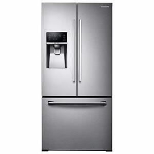 """Réfrigérateur Stainless Samsung 33"""", Portes françaises, Congélateur en bas"""