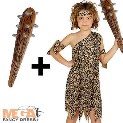 Caveman + Inflatable Club Kids Fancy Dress Cave Boy Stone Age Childrens Costume