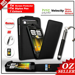 AU Cover Wallet Leather Flip Case BK For HTC Velocity 4G Screen Protector Stylus