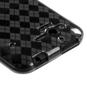 For Verizon HTC Rhyme TPU CANDY Gel Flexi Skin Case Phone Cover Smoke Plaid