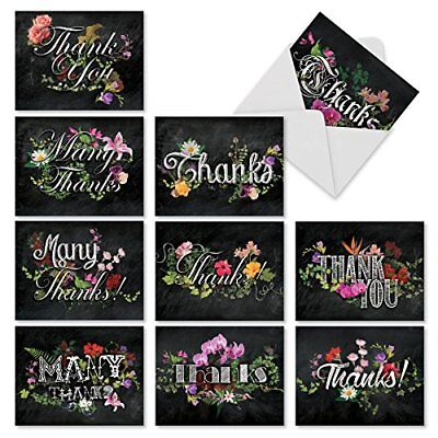 M2358TYB Chalk And Roses: 10 Assorted Blank Thank You Note Cards /Envelopes. ()