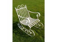 Metal/Steel Garden Rocking Chair In Antique Aged White Indoor & Outdoors Porch