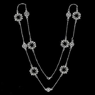 """Pewter Scottish Thistle and Celtic Knot 36"""" Necklace"""