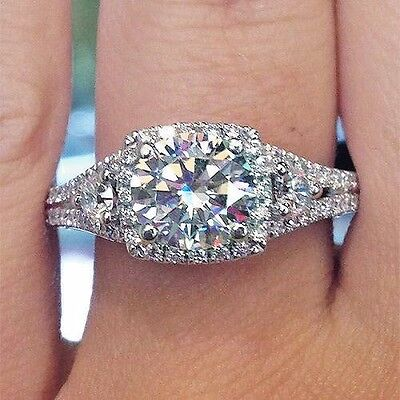PLAT Natural 2.36 Ct. Round Cut Diamond Halo Engagement 3-Stone Ring GIA E, VVS2