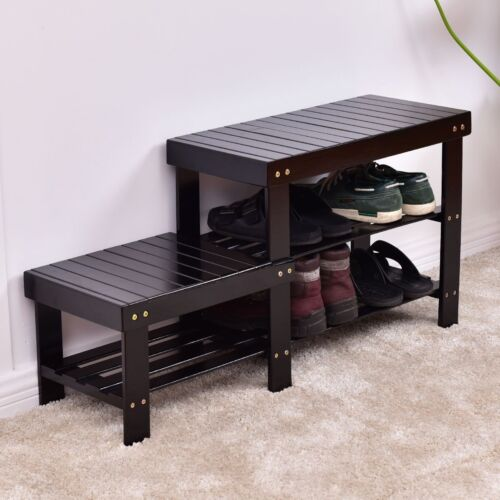Cool Details About Bamboo Shoe Bench Boot Storage Racks Organizer Shelf High And Low Level 2 Tier Uwap Interior Chair Design Uwaporg