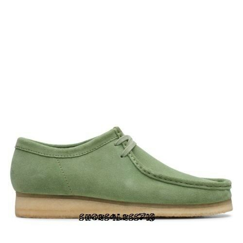 NEW 2019 MENS CLARKS ORIGINALS WALLABEE LOW TOP LIMITED EDITION GREEN SUEDE SHOE