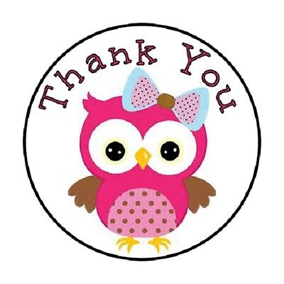 48 Thank You Owl Pink    Envelope Seals Labels Stickers 1 2  Round