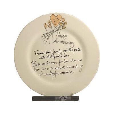 5th Wedding (Wood) Anniversary Plate (Flower) (Rd)