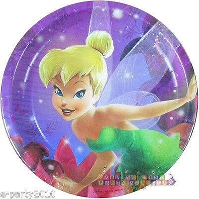 Fairy Birthday Party Supplies (TINKER BELL & THE DISNEY FAIRIES LARGE PAPER PLATES (8) ~ Birthday Party)
