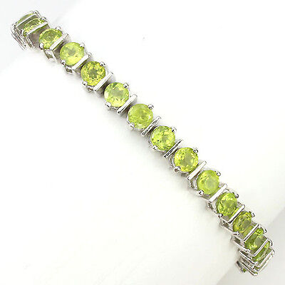 ALLURING!NATURAL ROUND 4mm TOP RICH GREEN PERIDOT STERLING 925 SILVER BRACELET