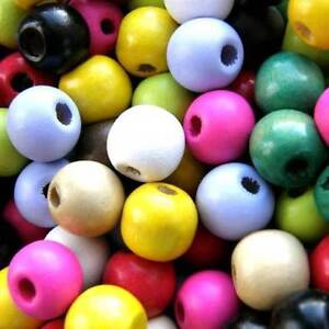 12MM WOODEN BEADS PACK 100 CHOOSE COLOUR ROUND WOOD CRAFT BEAD