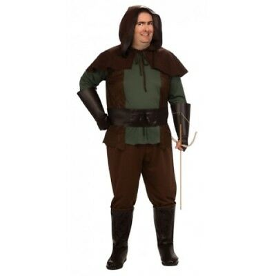 Robin Hood Costume Men's Plus Size 6 Pc Br/Gr Shirt Pants Belt Hood & Gauntlets (Plus Size Robin Hood Costume)