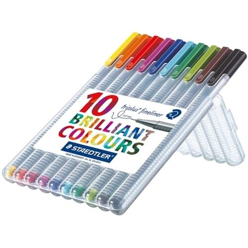 NEW Staedtler Triplus Fineliner 10 pack wallet 0.3mm Assorted Colours Germany