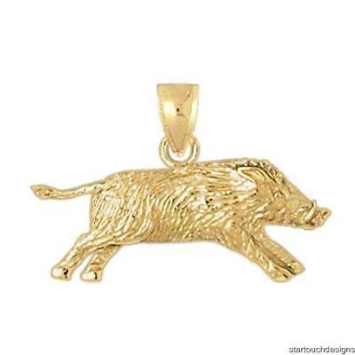 14k Yellow Gold Wild Boar Pig Pendant