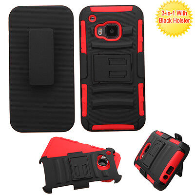 For HTC ONE M9 - HARD HOLSTER KICKSTAND COMBO CASE COVER w/ BELT CLIP RED BLACK ()