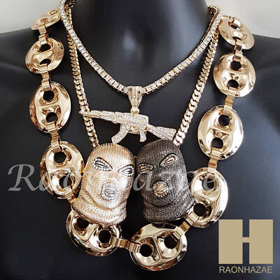 Iced Out Goon Mask AK47 Pendant 30