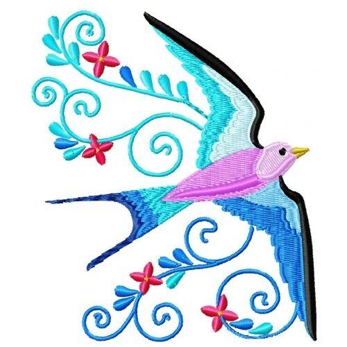 Embroidered Sweatshirt - Beautiful Birds PE08