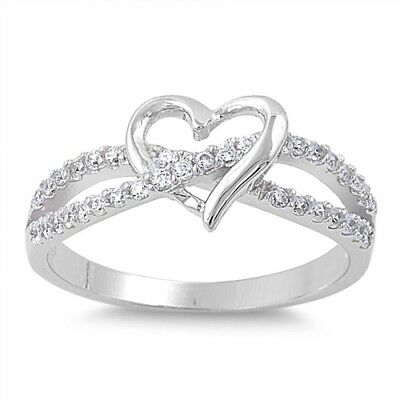 .925 Sterling Silver Infinity Heart Love Knot Promise Ring Clear CZ Size 5-11