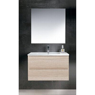 Mueble de baño suspendido Maia con lavabo y espejo liso 60 cm...
