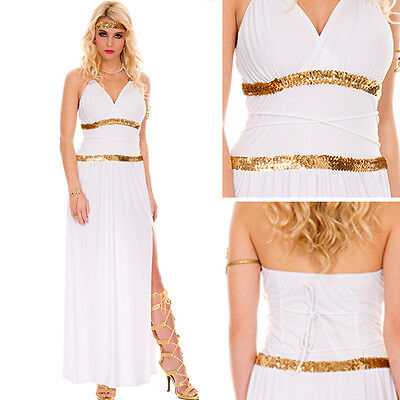 Full Costume Goddess Greek Athena Aphrodite Queen Toga Halloween Long Dress S-XL](Goddess Athena Costume)