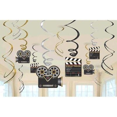 HOLLYWOOD Lights Camera Action SWIRL DECORATIONS (12) ~ Birthday Party - Hollywood Supplies