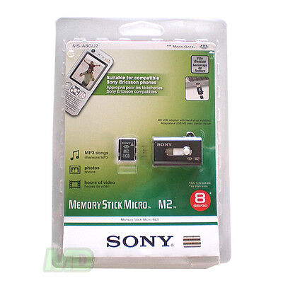 NEW GENUINE SONY 8GB Memory Stick Micro M2 Ericsson PSP Go w Slider Readser OEM