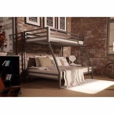 Twin over Full Bunk Beds Kids Boys Girls Bedroom Furniture w/ Ladder Loft Metal