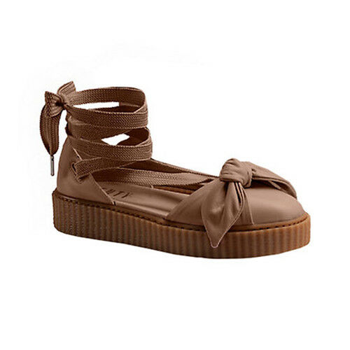 cheap for discount 7de24 5aa06 Details about Puma Rihanna X Fenty Bow Creeper Lace Up Womens Leather  Sandals 365794 03 D14