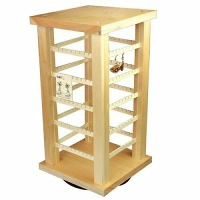Wood Earring Rack Displays Rotating Countertop 100 Pair 7 38 X 15 38 Spins