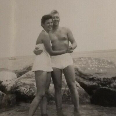 1950s Mens Suits & Sport Coats   50s Suits & Blazers 1950s CANDID Photo Pretty Girl Shirtless Man Pose by Beach Rock Vtg Bathing Suit $21.24 AT vintagedancer.com