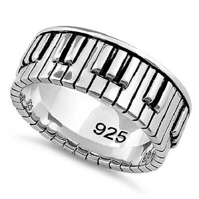 MUSICAL Sterling Silver 925 SOLID Piano Keys Unisex band finger ring .925