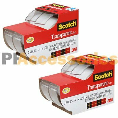 4x 3m Scotch Clear Office Transparent Tape 34 250 W Desktop Dispenser Lot