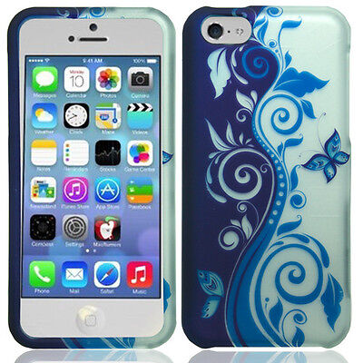 Rubberized Blue Snap - Apple iPhone 5C Rubberized HARD Protector Case Snap Phone Cover Blue Silver Vine