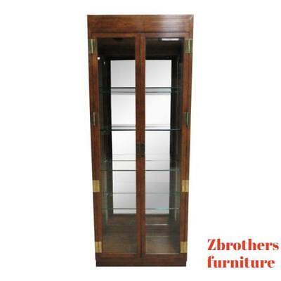 (Henredon Campaign Scene One Curio Display Cabinet China Hutch C)
