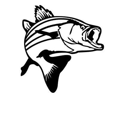 Fish Decor For Walls (Bass fish jumping Decal Sticker for Car Window Truck Wall Decor Macbook)
