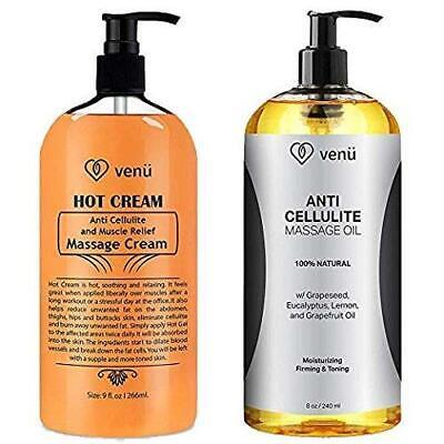 Anti Cellulite Treatment Massage Oil & Hot Cream Kit All Natural Deep  ()