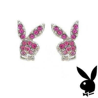 Playboy Earrings Bunny Logo Stud Pink Swarovski Crystal Silver Plated Jewelry