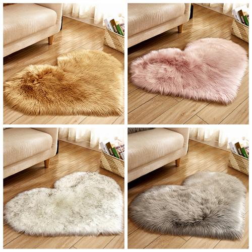 Fluffy Rugs Anti Skid Shaggy Area Rug Dining Room Bedroom Carpet Floor Mat Heart