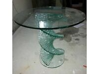 Beige colour glass used dining table