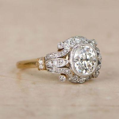 Art Deco Diamond Engagement Ring - 2 CT Diamond Vintage Edwardian Circa Inspired Vintage Art Deco Engagement Ring