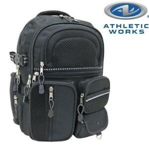 NEW ATHLETIC WORKS BACKPACK 223912551 ADULT BLACK MUTI FUNCTIONAL POCKETS TRAVEL BAG