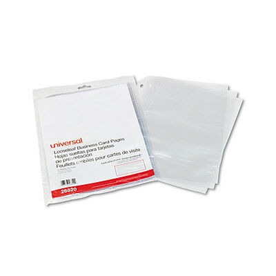 Universal Business Card Binder Pages, 20 Cards/Letter Page, Clear, 10 Pages/Pack