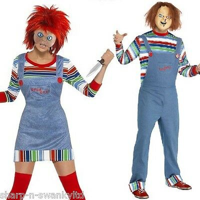 Ladies AND Mens Chucky Couples Halloween Horror Fancy Dress Costumes Outfits