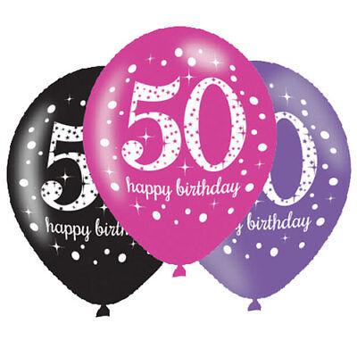 50. Geburtstag Luftballons Zahl 50 Pink,Schwarz,Lila Latexballon 6 St. Ø27,5 NEU