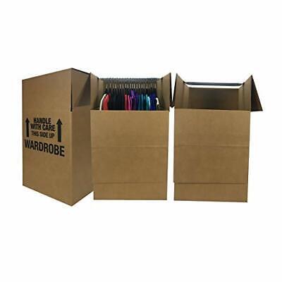 Uboxes Wardrobe Moving Boxes - Shorty Space Savers - 3 Pk 20x20x34 Wbars