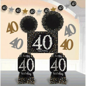 Happy 40th Birthday Hanging String Decoration Blue Glitter Number Age Party Mens Card And Store