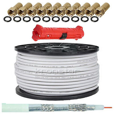 50m Koaxialkabel 135dB REINES KUPFER Sat DIGITAL Antennen Kabel 4K UHD SKY + AB  Antenne Koaxial Kabel