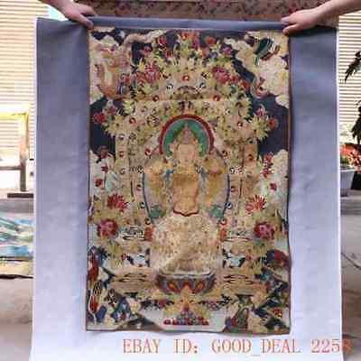 Tibetan Nepal Silk Embroidered thangka Tara Tibet Buddha --Buddha Vajradhara